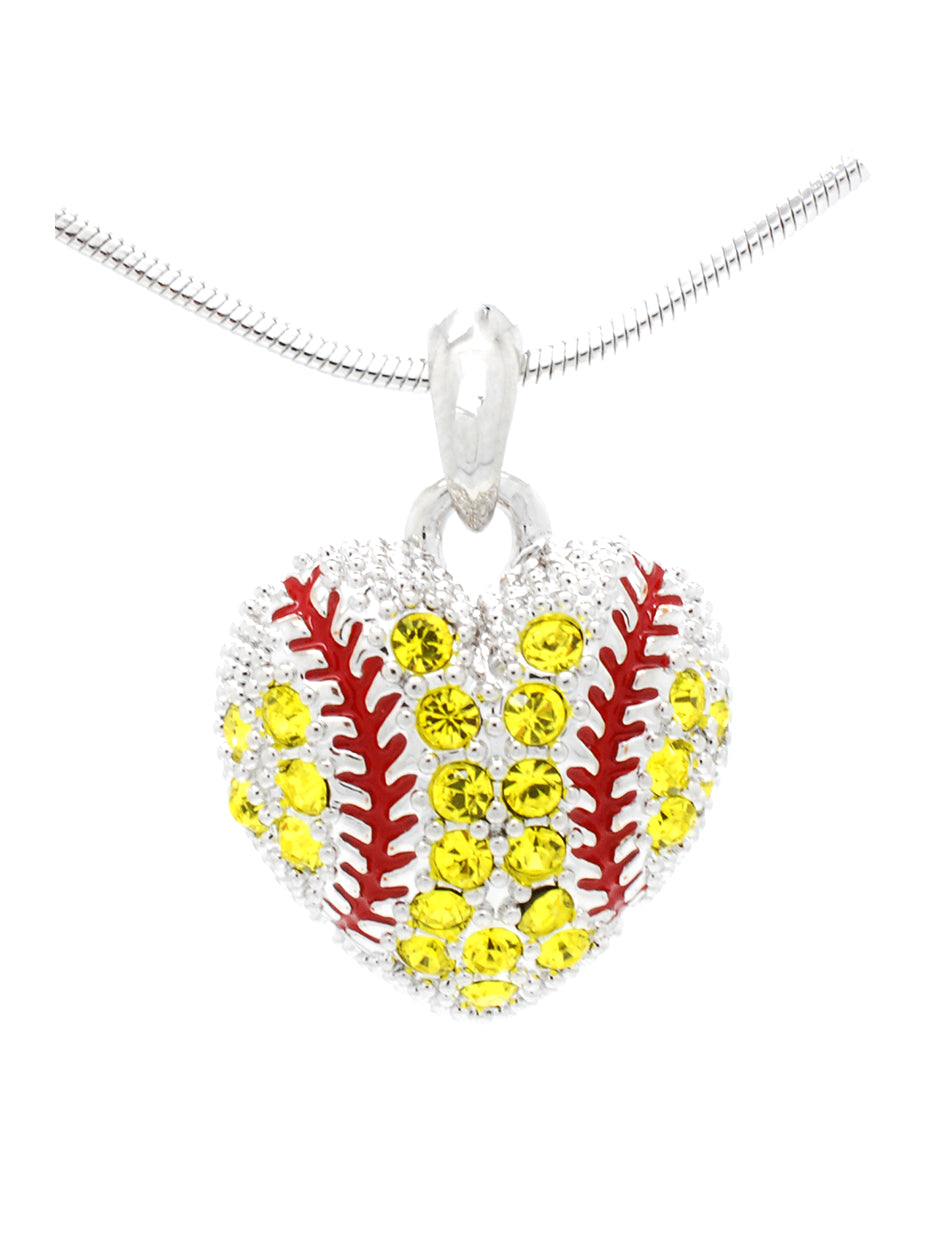Baseball or Softball Crystal HEART Necklace