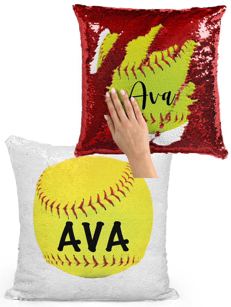 CUSTOM SEQUIN PILLOW - SOFTBALL with NAME