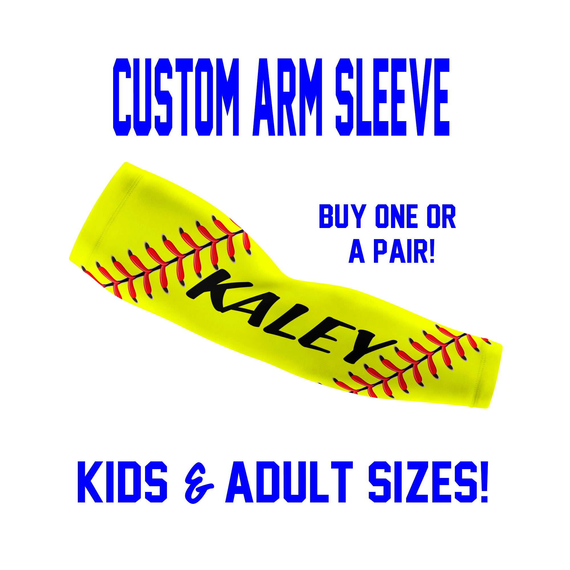 Custom Softball Fastpitch Arm Sleeves Laces - Single or Pair