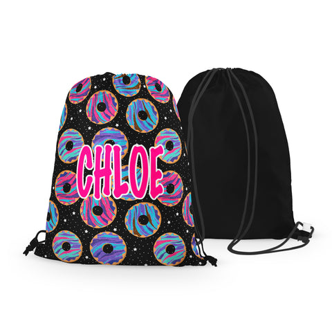 Personalized Space Donuts Drawstring Bag