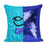 Custom Personalized SWIMMER GOGGLES Sequin Mermaid Flip Pillow