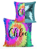 PERSONALIZED Bright TIE DYE  Mermaid Sequin Flip Pillow