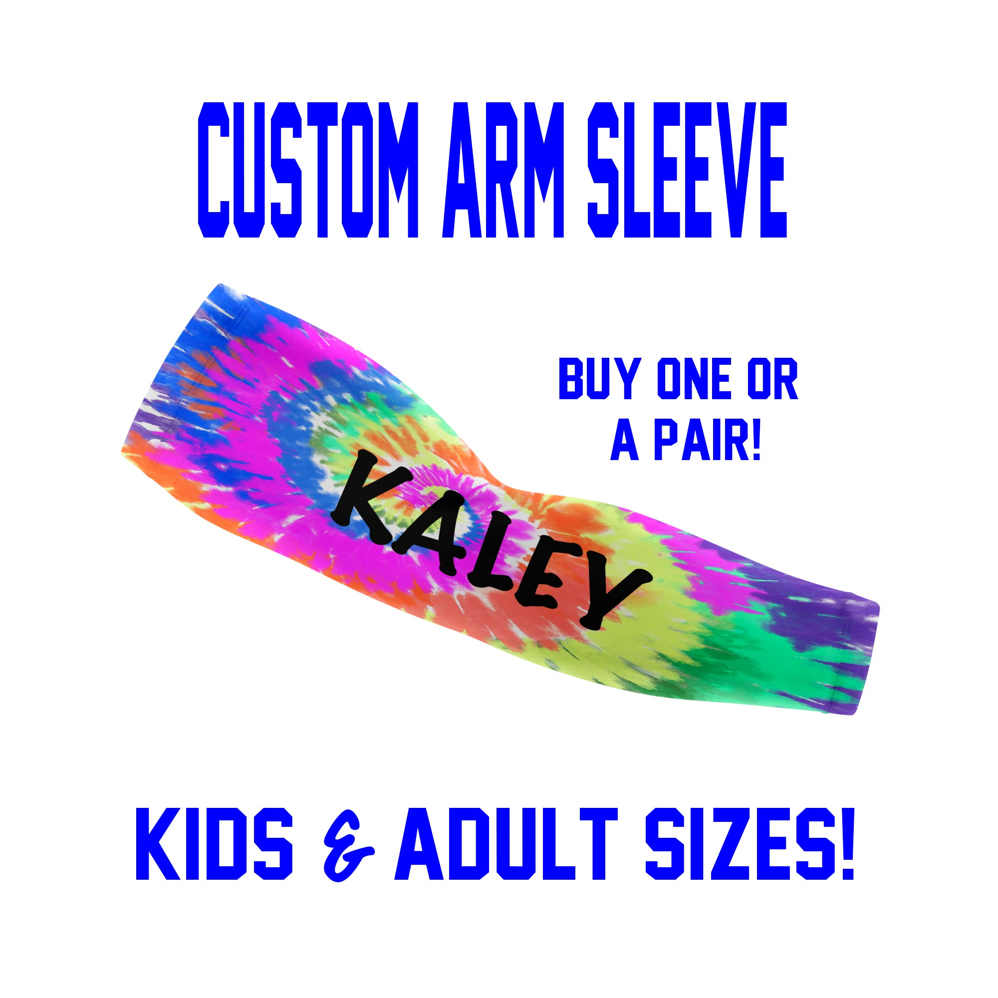 Custom Tie Dye Arm Sleeves - Single or Pair - Choose Your Background