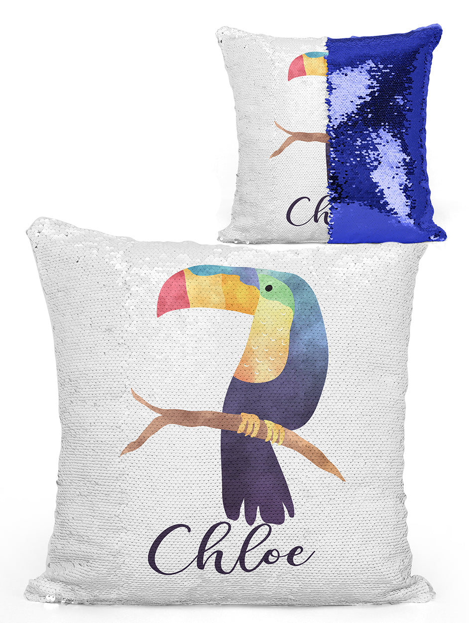Custom Personalized TOUCAN Sequin Mermaid Flip Pillow