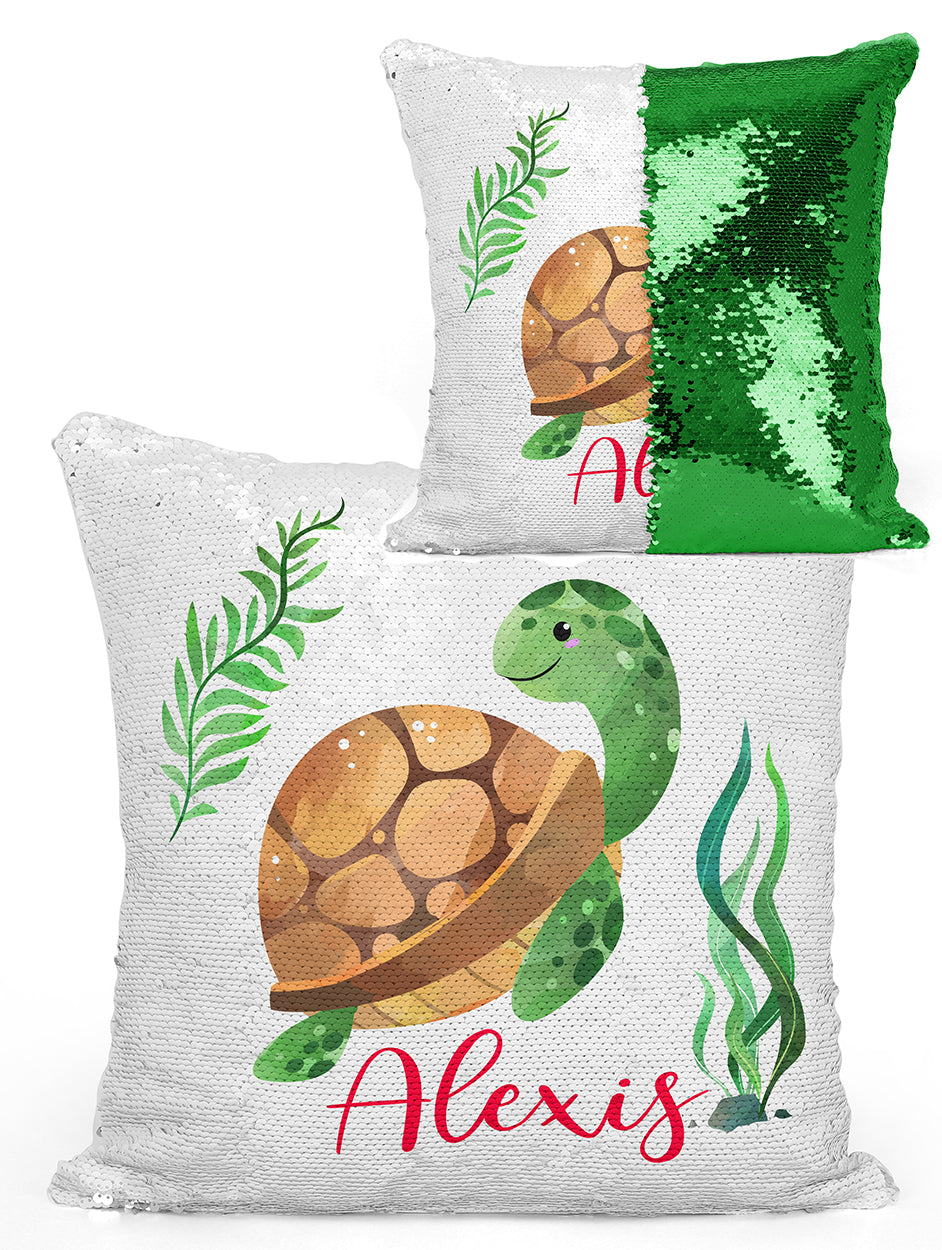 Custom Personalized TURTLE Sequin Mermaid Flip Pillow