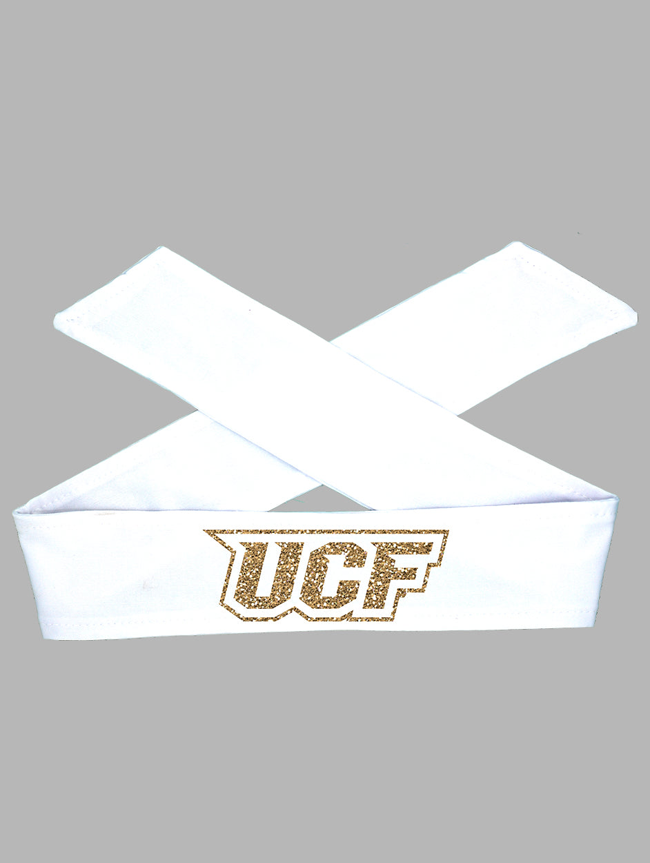 UCF Tie Headband - White/Gold Sparkle