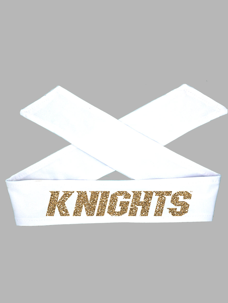 UCF Tie Headband Knights - White/Gold Sparkle