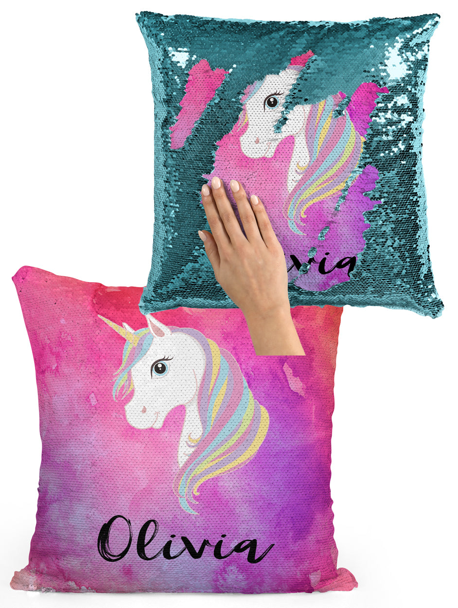 CUSTOM SEQUIN PILLOW - UNICORN WITH PINK WATERCOLORS