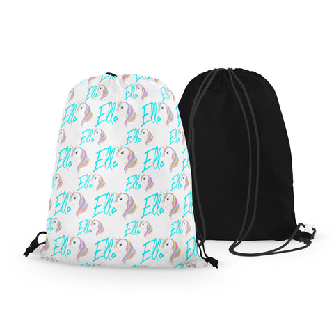 Personalized Unicorn Drawstring Bag with Name