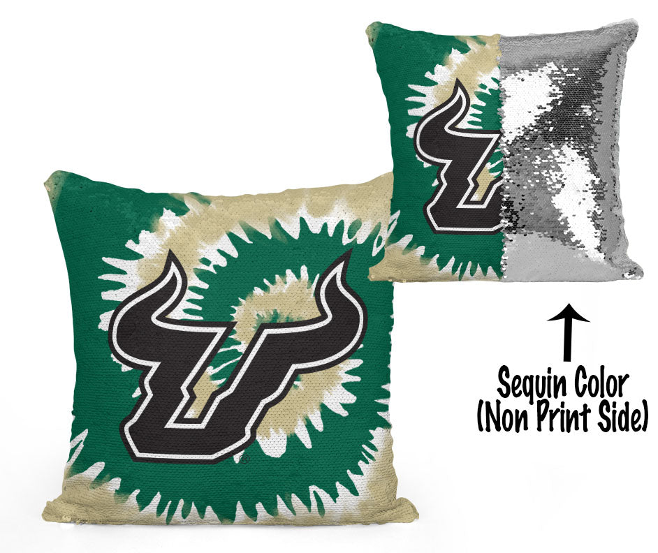 USF Sequin Flip Pillow - University of South Florida - USF Bulls Tie Dye Design