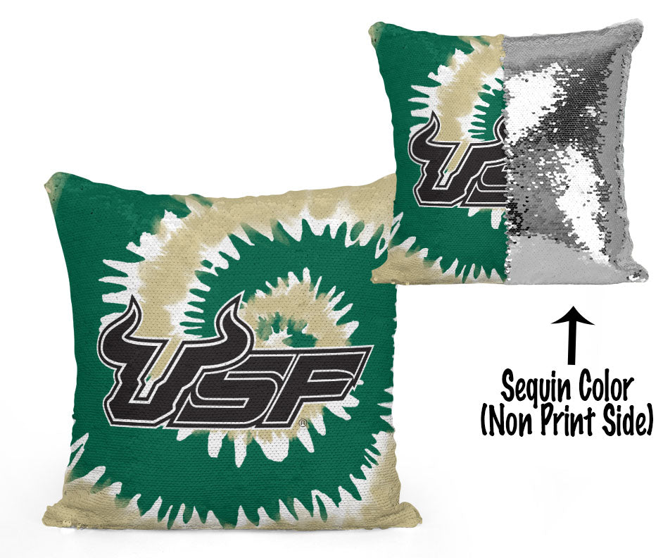 USF Sequin Flip Pillow - University of South Florida - USF Tie Dye Design