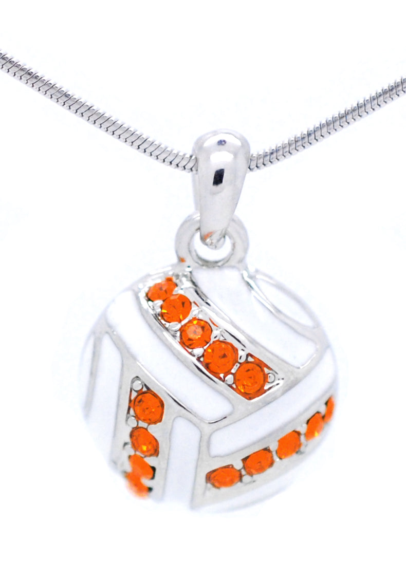 Volleyball Necklace Enamel - Orange