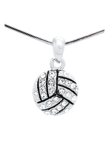 Volleyball Crystal Necklace - Small