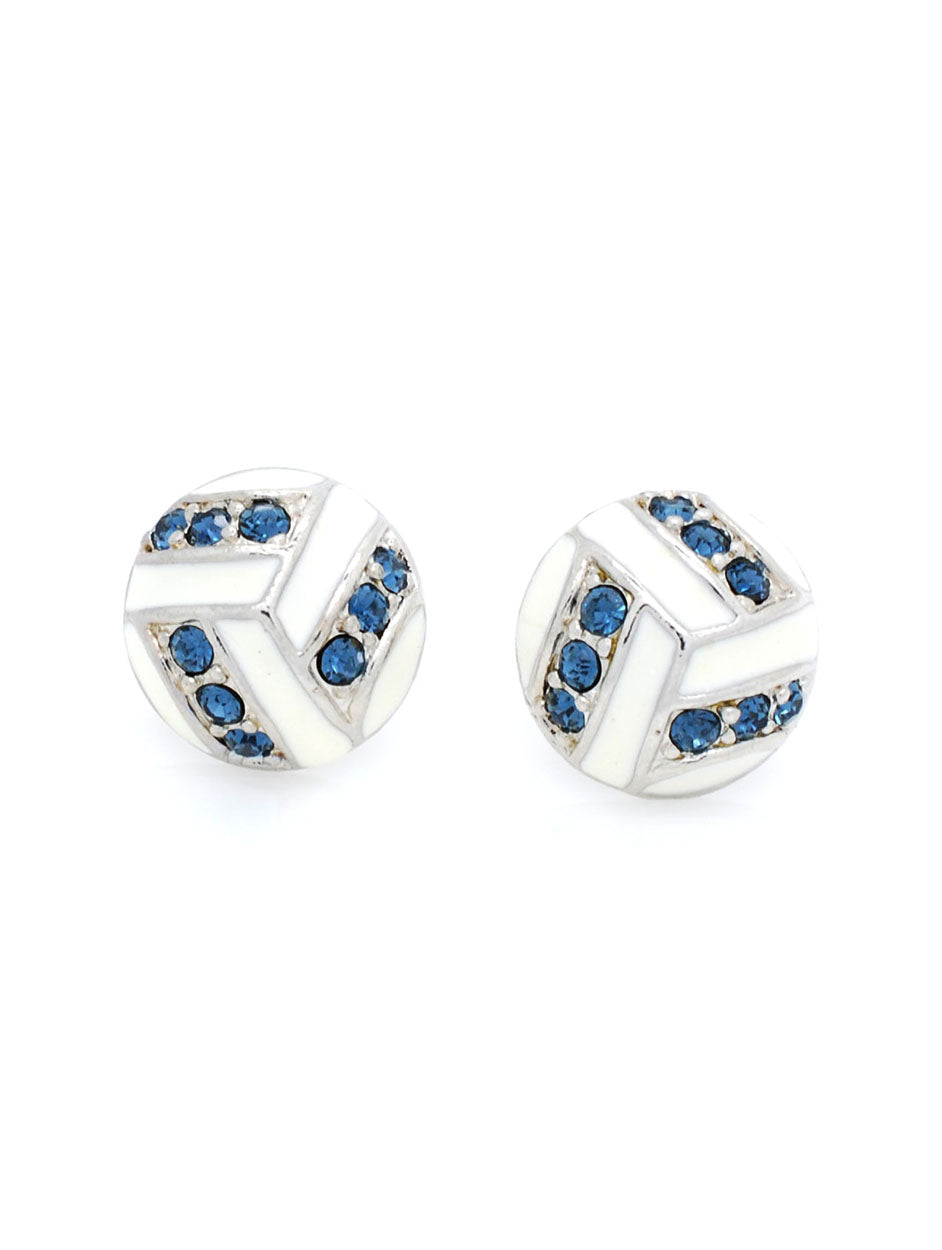 Volleyball Enamel Earrings POST - Navy