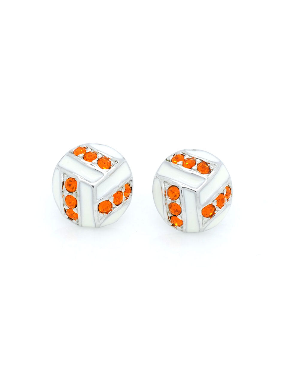 Volleyball Enamel Earrings POST - Orange