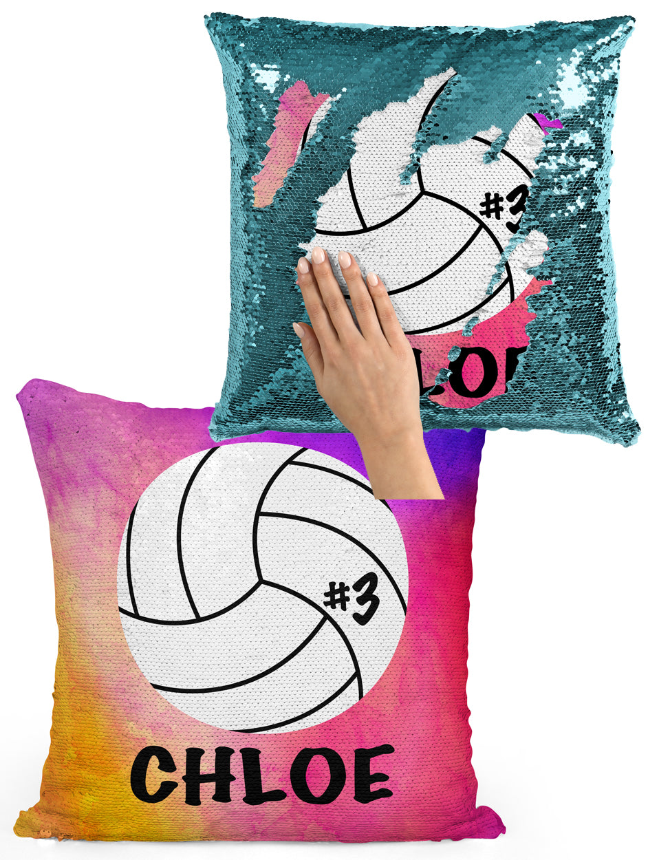 PERSONALIZED Volleyball Sequin Flip Mermaid Pillow