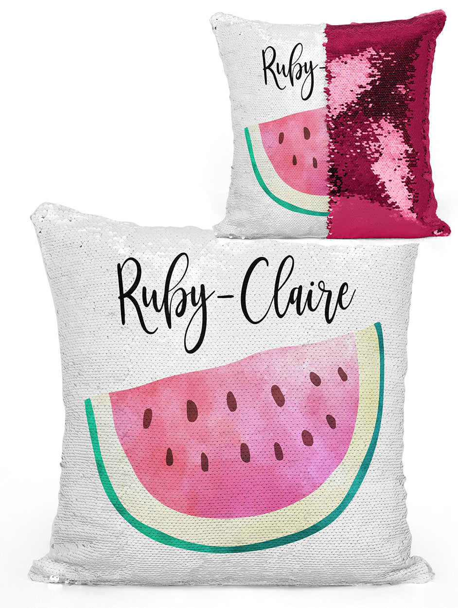 Custom Personalized WATERMELLON Sequin Mermaid Flip Pillow