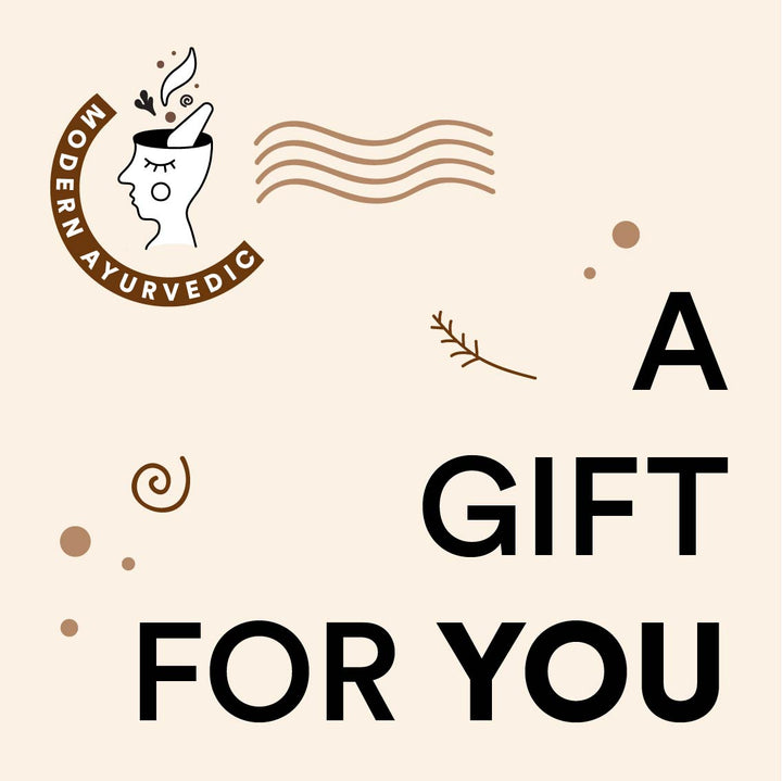 Modern Ayurvedic gift voucher for wellness supplements and lifestyle products
