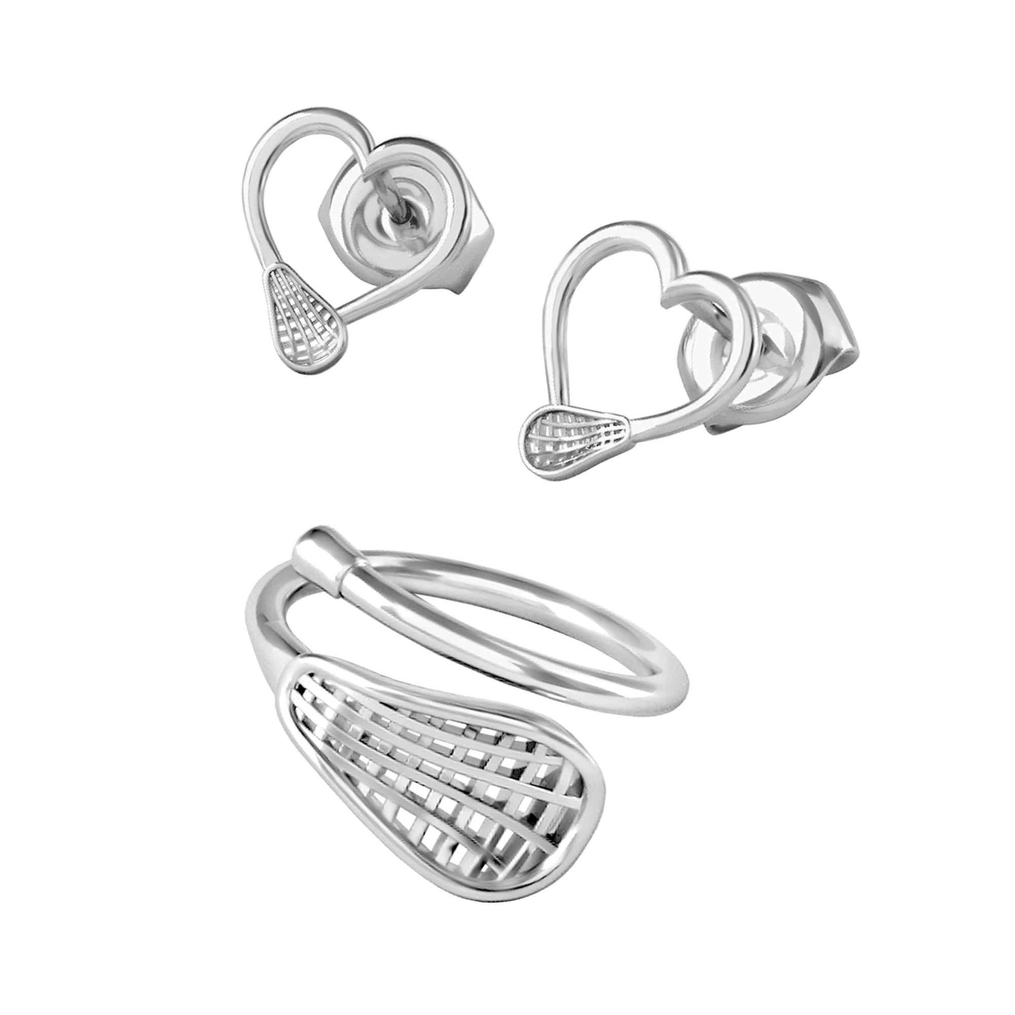 Lacrosse Ring + Heart Earrings
