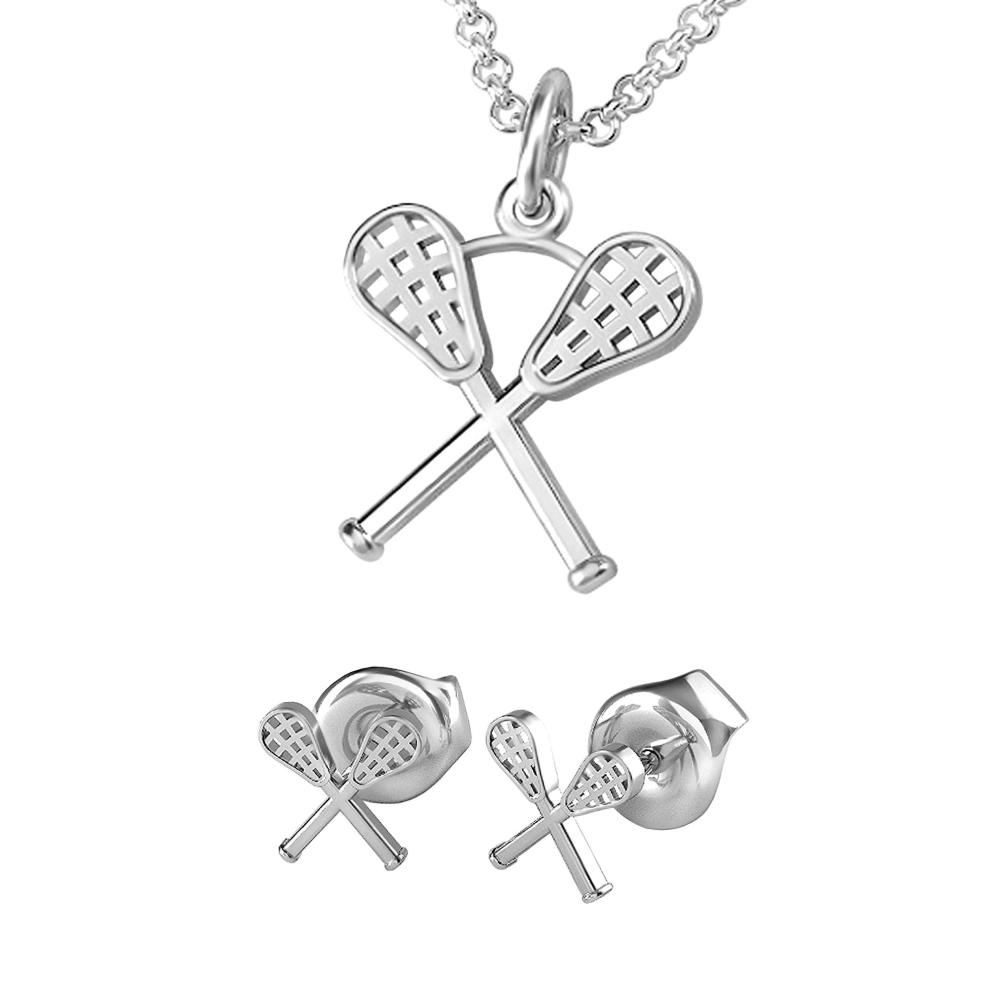 Crossed Lacrosse Sticks Pendant and Earrings
