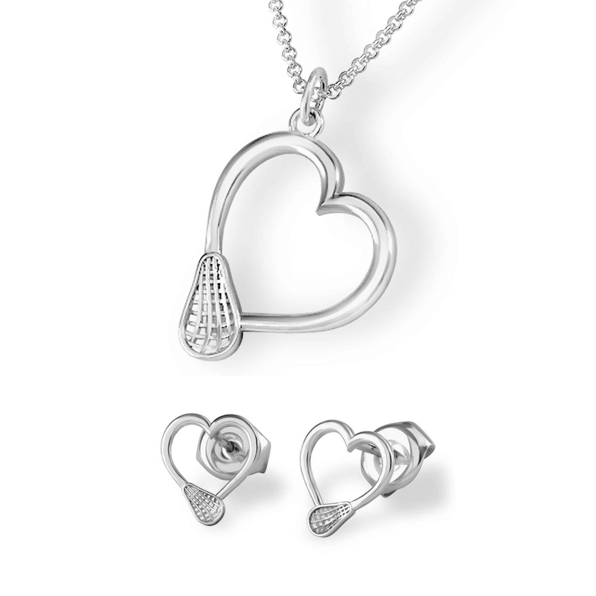 Lacrosse Heart Pendant and Earrings