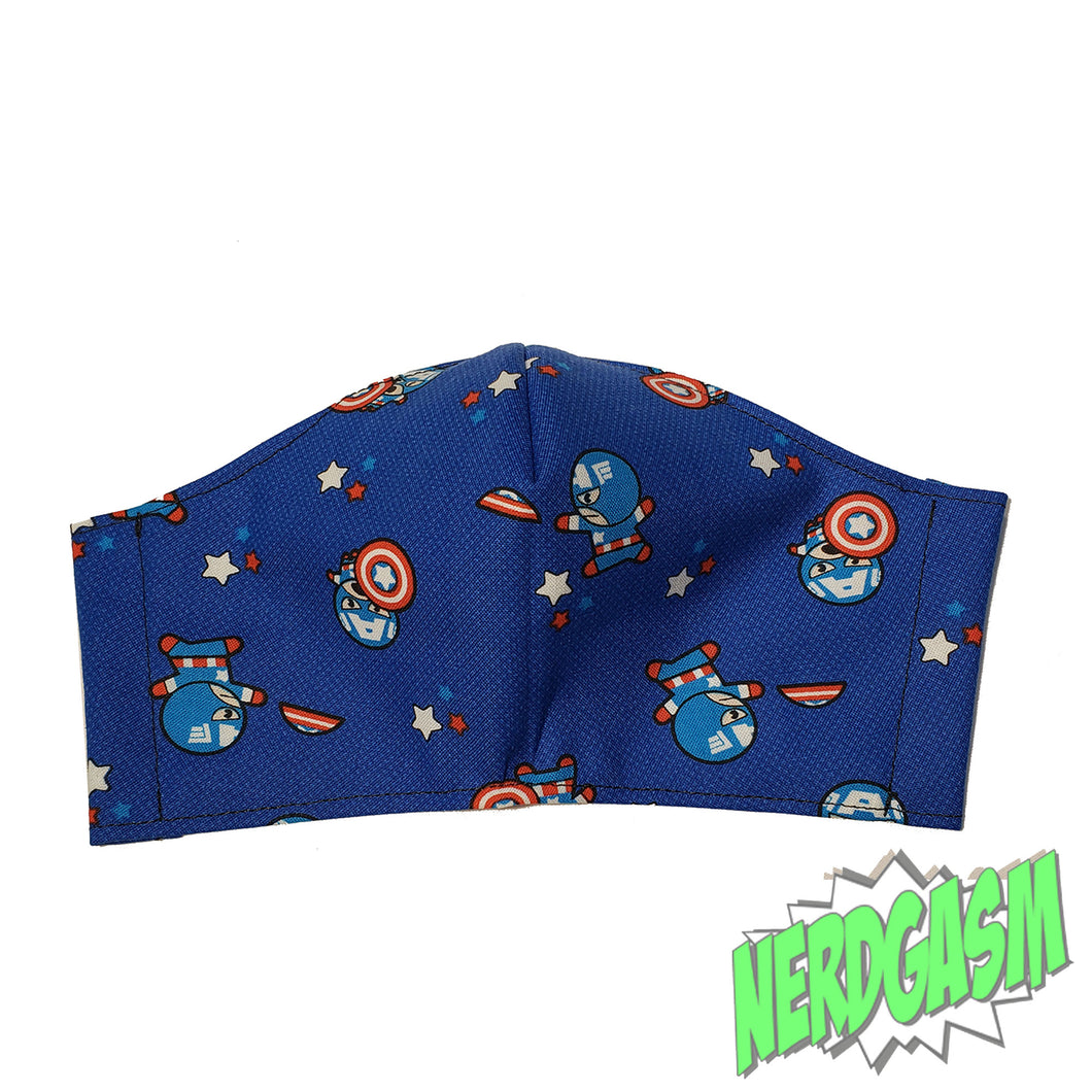 Chibi Captain America - Fabric Face / Dust Mask