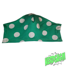 Load image into Gallery viewer, Green and White Polka Dotted Fabric Face Dust Mask handmade from Nerdgasm Canada