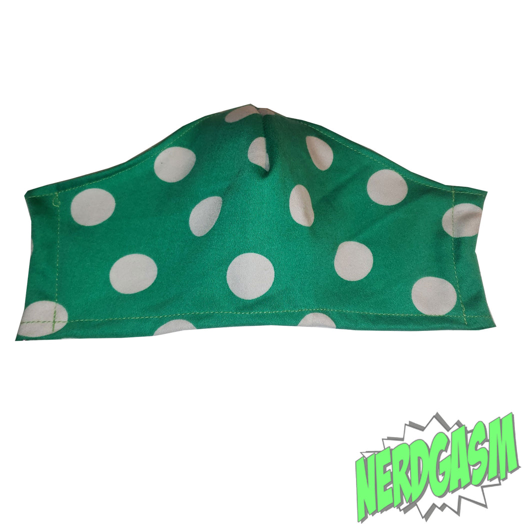 Green and White Polka Dotted Fabric Face Dust Mask handmade from Nerdgasm Canada