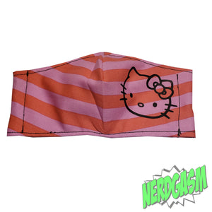 Pink Striped Kitty - Fabric Face / Dust Mask