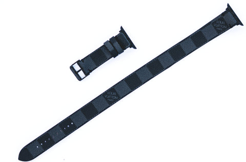 "Custom Louis Vuitton DOUBLE WRAP edition Apple Watchband ""Damier Graphite/Black"""