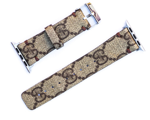 "Custom Gucci Apple Watchband ""Original GG Canvas"""