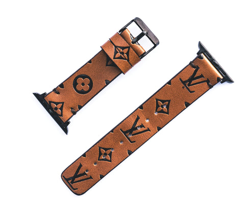 "Custom Louis Vuitton Apple Watchband ""Brown Empreinte leather"""