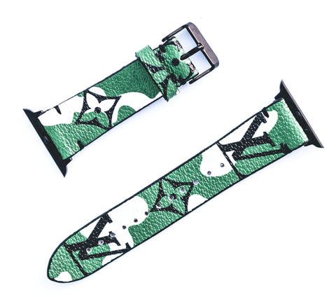 "Custom Louis Vuitton Apple Watchband ""Green Monogramouflage"""