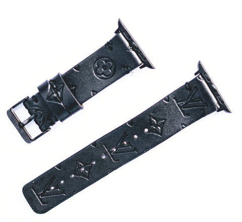 "Custom Louis Vuitton Apple Watchband ""Black Empreinte Leather"""