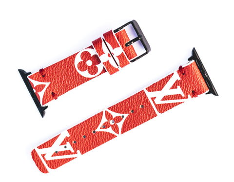 "Custom Louis Vuitton Apple Watchband ""Red Monogram"""