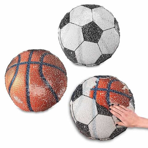 Sequin Pillow: Basketball and Soccer Ball