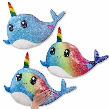 Sequin Pillow: Narwhal