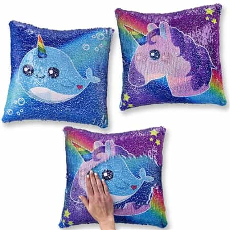 Sequin Pillow: Narwhal and Unicorn