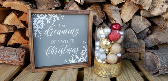 White Christmas - Wood Framed Sign
