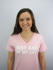Women's V-Neck Tee Pink Distressed