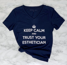Load image into Gallery viewer, Navy V Neck Keep Calm and Trust Your Esthetician