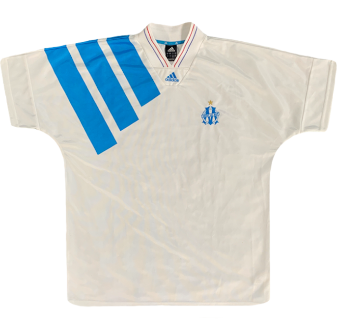 maillot olympique de marseille vintage réedition 10 ans champions league
