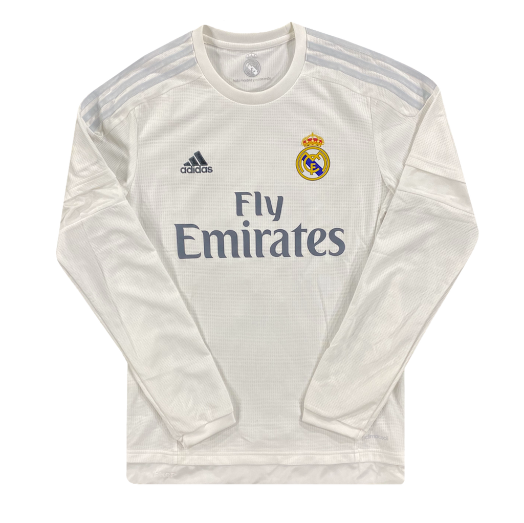 maillot real madrid vintage manches lonuges saison 2015-2016 fly emirates