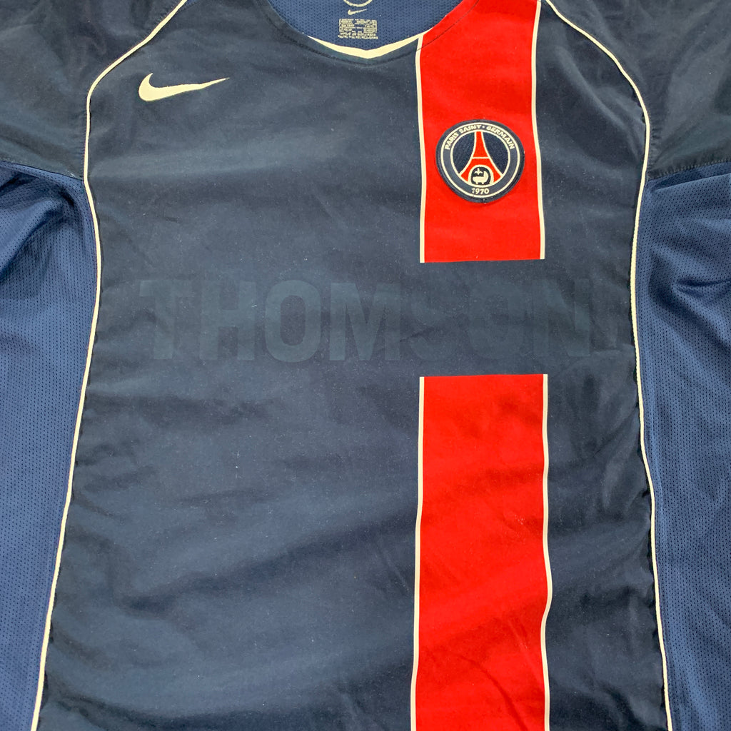 Détail face flocage maillot domicile paris saint germain vintage saison 2004-2005 Thomson nike