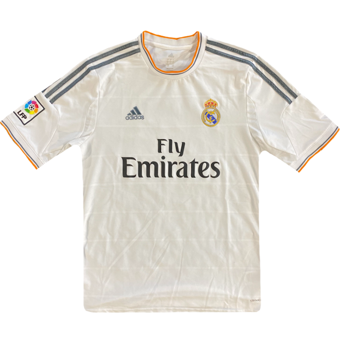 maillot real madrid vintage blanc orange saison 2013-2014 fly emirates