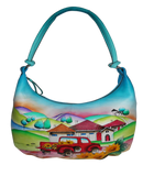 Farm House - Hand Painted Leather Bag