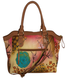 Flower Garden - Hand Painted Leather Bag