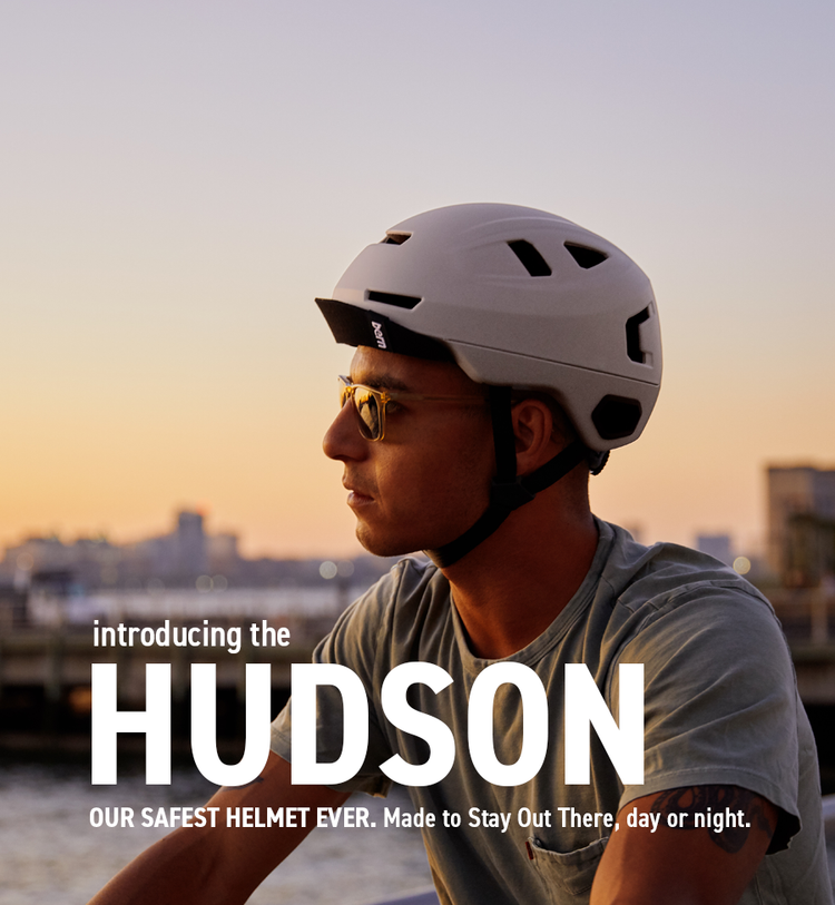 Man wearing hudson in New York City, urban cycling capital of the world.