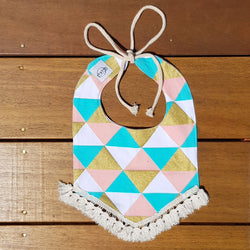 Golden Geometric Tassel Dribble Bib