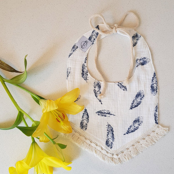 Summer Feather Tassel Dribble Bib